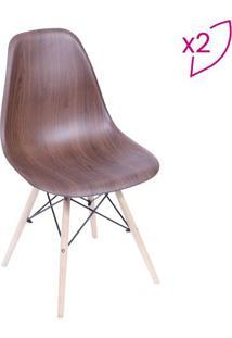 Jogo De Cadeiras Eames Dkr- Wood Escura- 2Pã§S- Oor Design