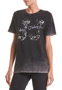 Camiseta John John Rg Destroy Jj Malha Algodão Preto Feminina (Preto, Pp)
