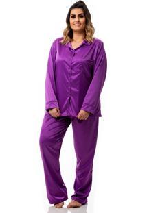 Conjunto De Pijama Em Cetim Plus Size - Roxo - Feminino - Cetim - Dafiti