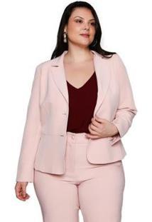 Blazer Almaria Plus Size Pianeta Alfaiataria Camafeu Feminino - Feminino-Rosa Claro