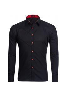 Camisa Masculina Slim Fit Com Detalhes Em Costura Manga Longa - Preto