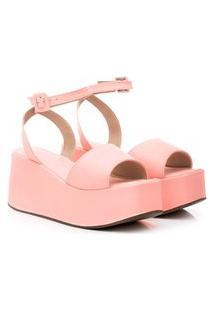 Sandália Anabela Plataforma Damannu Shoes Luma Rosê