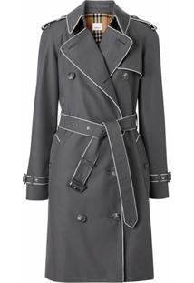 Burberry Contrast Piped Trim Trench Coat - Cinza