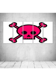 Quadro Decorativo - Pink Skull - Composto De 5 Quadros