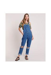 Macacão Jeans Feminino Relaxed Com Rasgos Azul Escuro