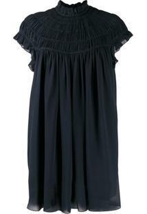 Chloé Short-Sleeved Smocked Blouse - Azul