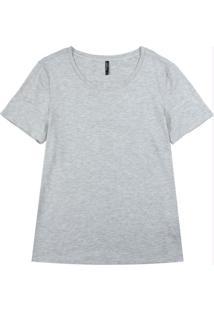 Blusa Básica Com Decote Redondo Cinza