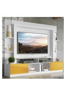 """Rack Estante C/ Painel Tv 65"""" E 2 Portas Oslo Multimóveis Branco/Amarelo"""