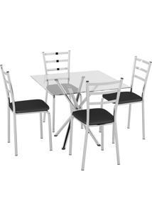 Conjunto Mesa Tampo Vidro C/ 4 Cadeiras Vinil Preto/Cromado Pozza - Tricae