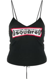 Dsquared2 Blusa Com Corset E Logo - Preto