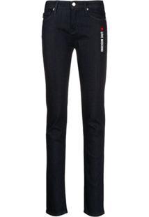 Love Moschino Calça Jeans Skinny Com Estampa De Logo - Azul