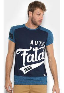 Camiseta Fatal Alongada Auth 1998 Masculina - Masculino-Azul