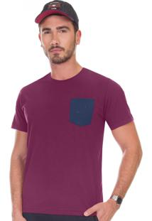 Camiseta Diametro Com Bolso Bordô