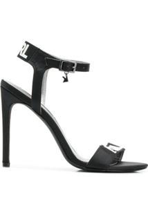 Karl Lagerfeld Sandália 'Gala' De Couro - Preto