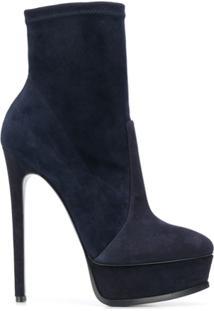 Casadei Ankle Boot Com Plataforma - Azul