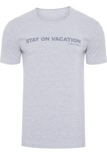 Camiseta Masculina De Cotton Logo - Cinza