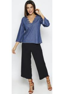 Blusa Jeans Com Recortes - Azul Escuro - Thiptonthipton