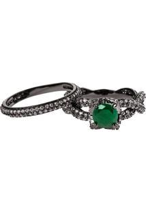 Anel Solitário Com Aparador The Ring Boutique Pedra Cristal Verde Esmeralda Ródio Negro
