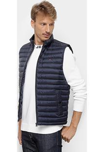 Colete Puffer Tommy Hilfiger Matelassê Core Packable Down Vest Masculina - Masculino-Marinho