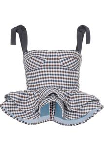 Silvia Tcherassi Junquillo Peplum Bustier Vest Top - Azul