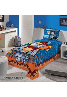 Jogo De Cama Authentic Games Solteiro- Azul & Laranja