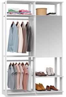 Guarda-Roupa Solteiro Modulado Clothes Com Espelho 2 Pt Branco