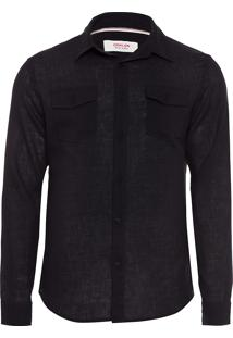 Camisa Masculina Cotton Linen Pockets - Preto
