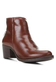 Bota Couro Shoestock Cano Curto Salto Comfort Feminina