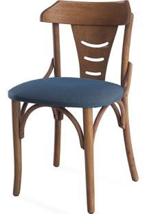 Cadeira Jantar De Madeira Estofada Augustine - Stain Jatobá - Tec.997 Chumbo - 45X50,5X83 Cm