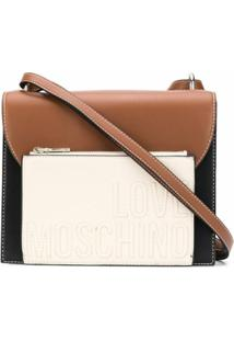 Love Moschino Bolsa Transversal Color Block Com Logo Gravado - Preto