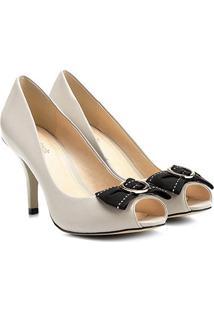 Peep Toe Couro Shoestock Salto Fino Gorgurão - Feminino