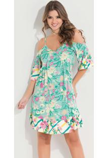 c6b52c2867 ... Vestido Quintess Ciganinha Floral Verde