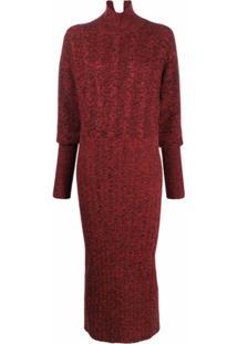 Kenzo Vestido Texturizado De Tricô - Vermelho