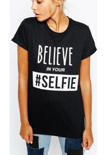 Camiseta Criativa Urbana Frases Engraçadas Selfie Nerd Geek - Feminino-Preto