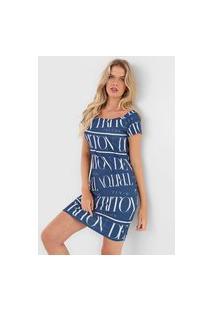 Vestido Triton Curto Logo Azul-Marinho