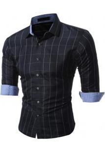 Camisa Masculina Slim Xadrez Manga Longa - Preto E Branco