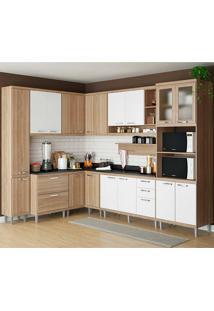Cozinha Compacta Com Tampo 10 Peças 5803-S2T Sicília - Multimóveis - Argila Acetinado / Branco Acetinado