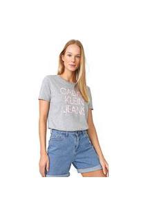 Blusa Calvin Klein Jeans Logo Folhagens Cinza