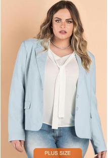 Blazer Alfaiataria Feminino Secret Glam Azul