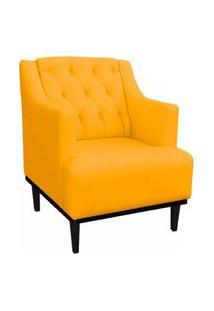 Poltrona Decorativa Clássica Capitonê Suede Amarelo - Ds Móveis