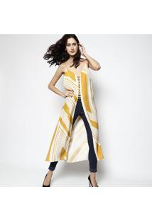 Regatão Natalia Sunflower Em Seda - Amarelo & Amarelo Clle Lis Blanc