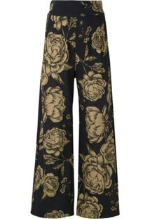 Osklen Calça Pantalona Estampada - Preto