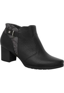 Ankle Boot Com Recortes- Preta & Cinza- Salto: 5Cmpiccadilly