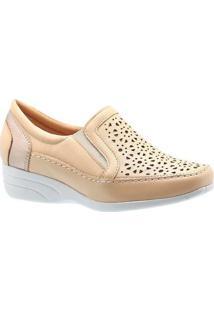 Sapato Conforto Anabela Em Couro Porcelana Doctor Shoes Feminino - Feminino-Creme