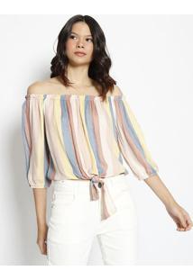 Blusa Ciganinha Com Elã¡Stico- Amarela & Marrom Clarohering