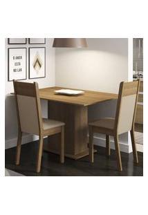 Conjunto Sala De Jantar Madesa Gabi Mesa Tampo De Madeira Com 2 Cadeiras Rustic/Crema/Pérola Rustic