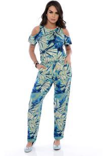 Macacão Longo B Bonnie Manga Curta Diana Tie Dye Azul