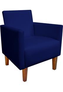 Poltrona Decorativa Compacta Jade Corino Azul Marinho Com Pés Castanho - D'Rossi