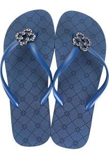 Chinelo Capodarte Monograma Básico Feminino - Feminino-Azul