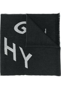 Givenchy Cachecol Jacquard Com Logo - Preto